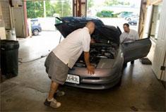 car audio installation, Garage Car hood open