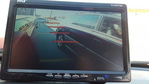 Passing traffic as viewed from blind spot camera