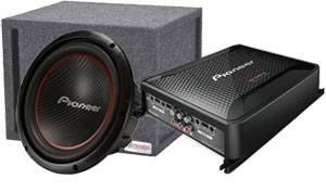 Pioneer Single 12 inch Sub in Ported Box with Pioneer Amp