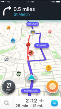 Waze traffic screen shot